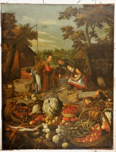Fruit and vegetables with figure in the background before it is conserved