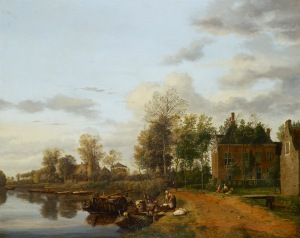 Jan van der Heyden-A country house on the Vliet near Delft  ©2011 Her Majesty Queen Elizabeth II