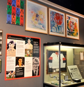 Sporting memorabilia as part of Our Sporting Life exhibition