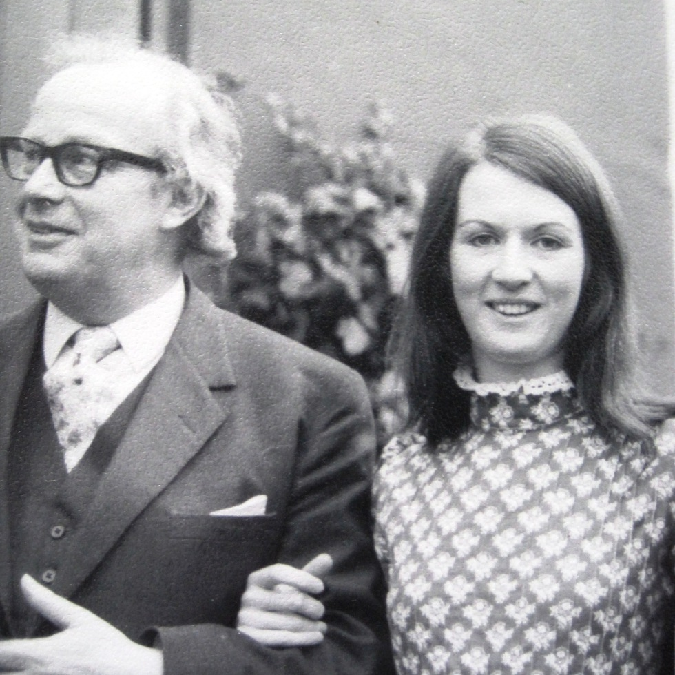 Caroline and her father on her wedding day, 1973