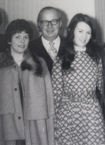 Caroline, her father and her best friend on her wedding day, 1973