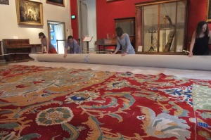 Moving the Agra carpet in the Music Room