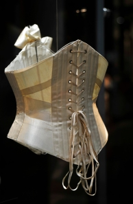Ribbon corset on acrylic mount – in the Fashion & Textile Gallery