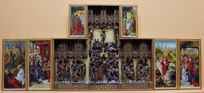 Figure 1: Image of the 15th century altarpiece of 'The Passion, Death & Resurrection of Christ', with the panel paintings by The Master of the View of St Gudule and the wooden carvings by the Brussels Guild of Sculptures.
