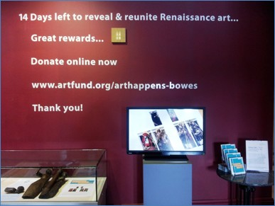 Display in the foyer of The Bowes Museum during the Art Happens fundraising project