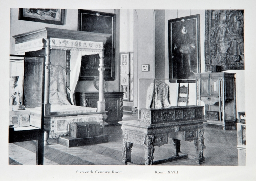 An undated photograph of the 19th century bed and Indo-Portuguese bed hangings when previously on display in the Bowes Museum.