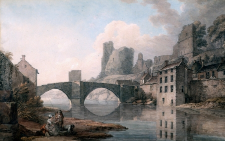 Watercolour of Barnard Castle, 1788, by Thomas Hearne. The painting shows the ruined castle in the background and one of the mills on Bridgegate in front of a few domestic weaving workshops