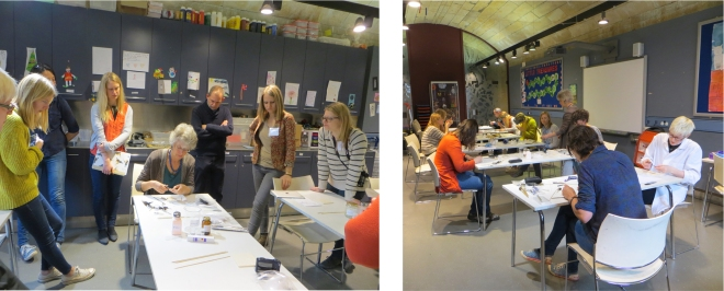 During feathers reparation treatment demonstration (left). Workshop attendants working on their samples (right).