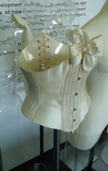 Ribbon corset, de-installed from gallery, and about to be condition checked
