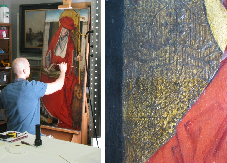(left): Surface cleaning St. Jerome (right): Saint Jerome during surface cleaning, (top half untreated, bottom half treated)