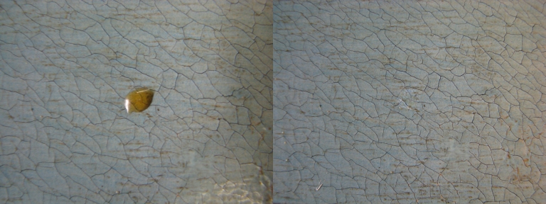 (left): Resin droplet before treatment (right): Resin droplet after mechanical removal
