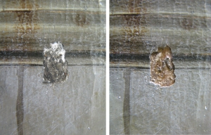 (left): Photo of old filling (right): Image after the removal of the old filling