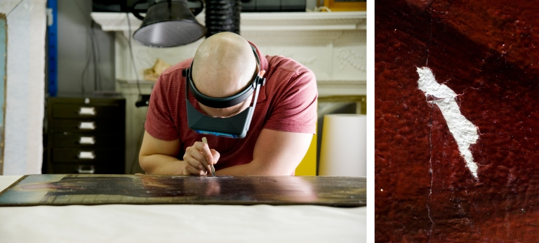 (left): Incising and shaping a filling on Saint Antony (right): Image of a fill during final shaping
