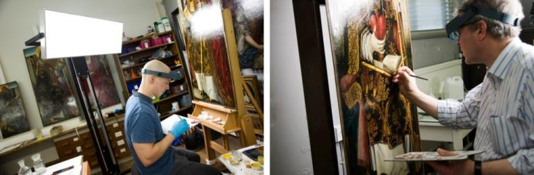 (left): Mixing colour during retouching of Saint Ambrose (right): Retouching Saint Augustine