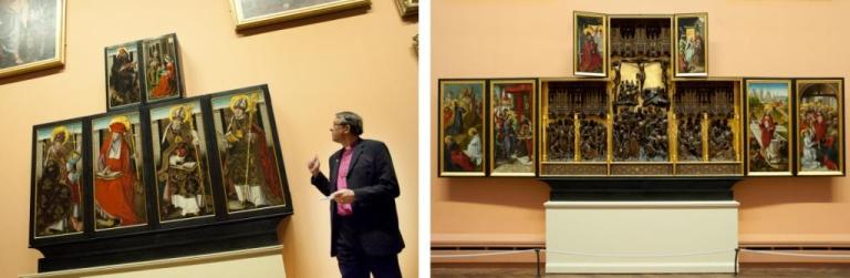 (left): The Bishop of Durham opening the newly conserved altarpiece (right): The Altarpiece after conservation