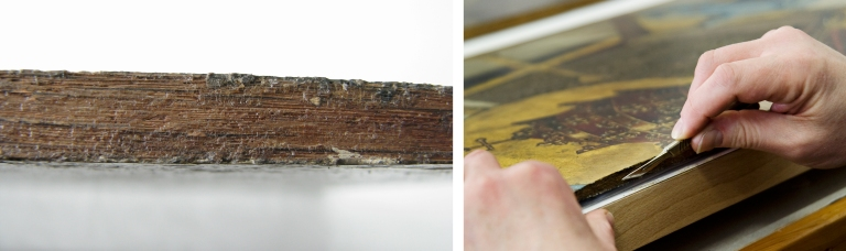 (left): Old adhesive residue on the edge of a separated panel board (right): Scalpel removing old adhesive residue