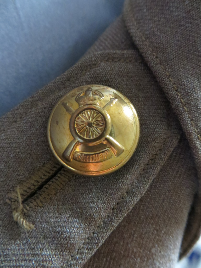 Close-up brass button