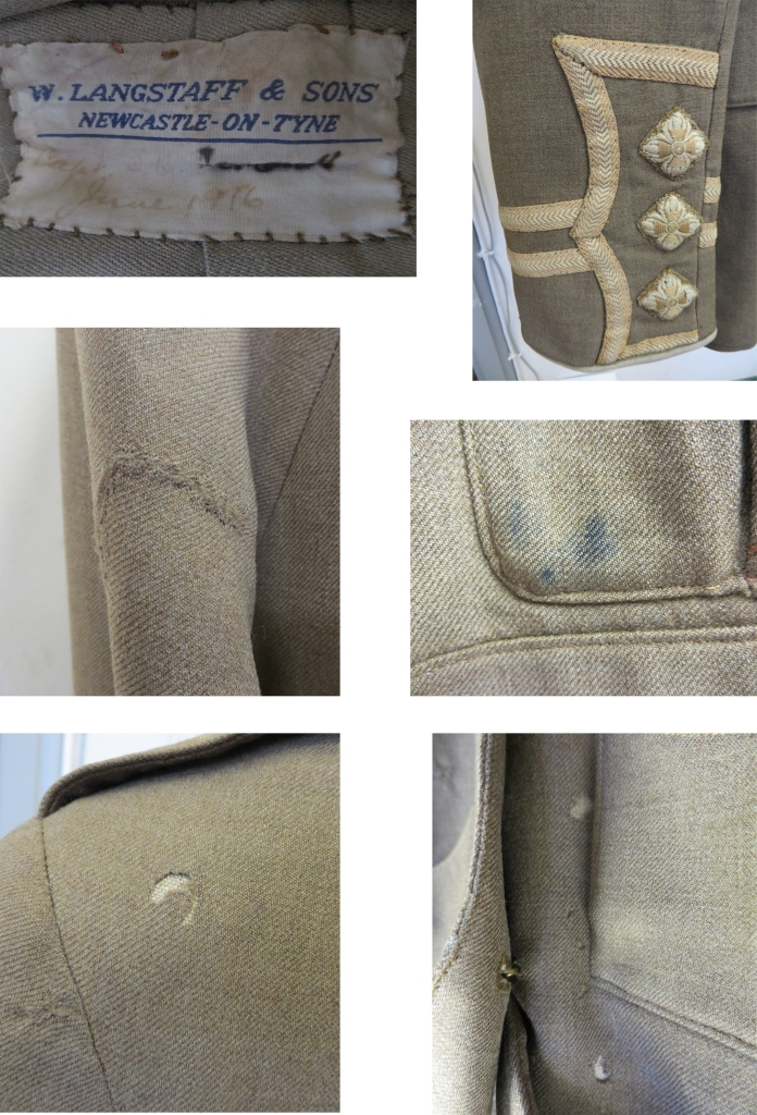 Initial close-ups: W. Langstaff & Sons original  label (up, left); cuff decoration (up, right); old mending repair on sleeve (centre, left); blue ink stain on pocket (centre, right); areas of loss due to insect attack (below)