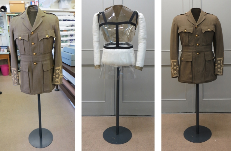 CST.1674 on mannequin before adaptation (left), mannequin after adaptation (centre); CST.1674 on mannequin after adaptation (right)