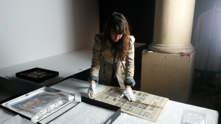 Pauline checking the archival material