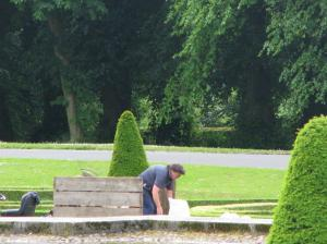 Val, Museum Gardener, prepping before the gravel is laid