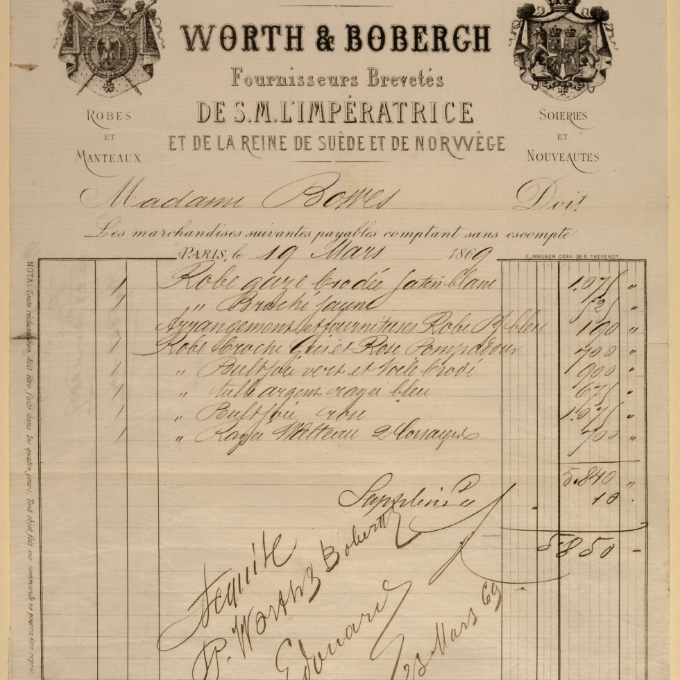 Worth and Bobergh bill, Madame Bowes, 1869