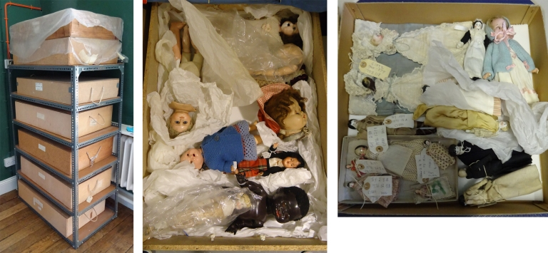 The previous unsuitable storage boxes and two images of the overcrowded boxes before re-packing