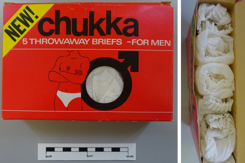 CST.2.860 Paper throwaway pants. Images show the packaging and looking inside the box
