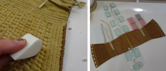 CST.3.385 –1. Images showing surface cleaning of chamois leather lining and the humidification of the linen lacings
