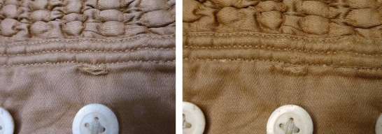CST.3.385 – Before and after treatment of split in cotton. After un-picking of the lower seam, a patch was inserted and couched into place. The seam was then re-stitched and a silk crepeline patch applied to a weak area of cotton to the right