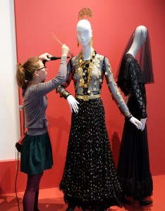 Jamie surface cleaning costume on display in the YSL: Style is Eternal exhibition