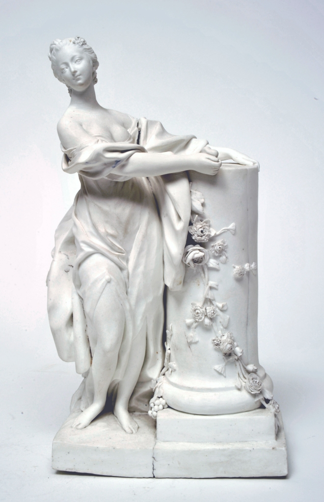 "Nineteen of these figures was produced in 1755 (T. Preaud, ""La Porcelaine de Vincennes"", 1991, no.40).  Three others are known today (Musee National de Ceramiques, Sevres (MNC16057);  Wadsworth Atheneum, Hertford (with a porcelain stand, perhaps for her brother, the Marquis de Marigny); and a private collection, Paris (sold Firestone collection, Christies New York, 21-22 March 1991, lot.120)."