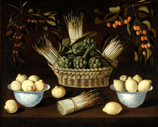 Still-life with Asparagus, Artichokes, Lemons and Cherries