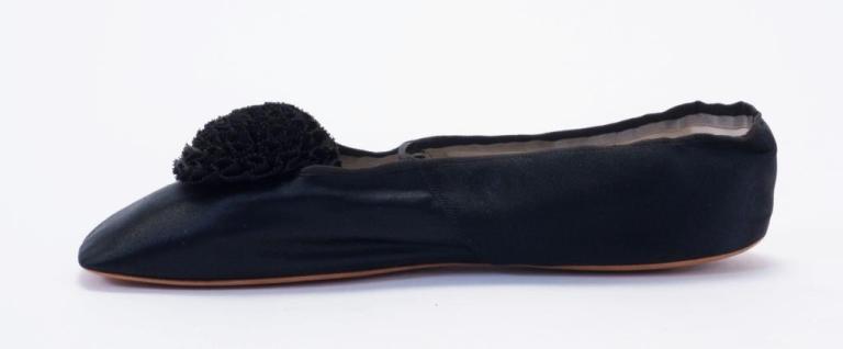 Black silk shoes, 1860s