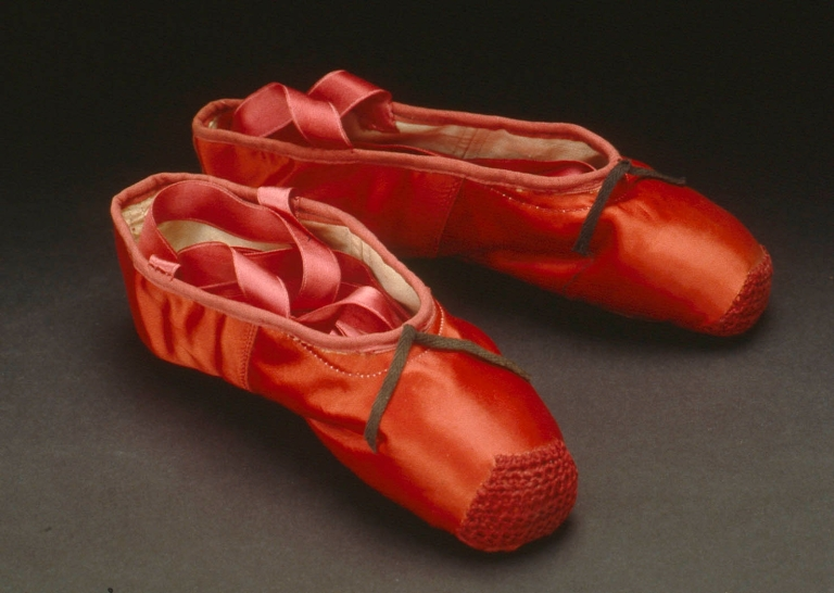 Ballet shoes made for Norma Shearer, The Red Shoes, © Northampton Museums & Art Gallery