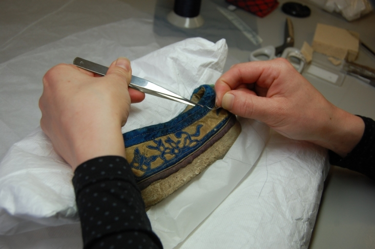 CST.321 Chinese 19th Century Man's Shoe During Conservation