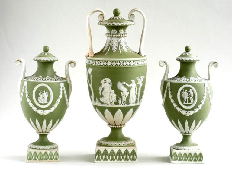 Set ['garniture'] of vases of Wedgwood Jasperware vases, late 18th century, from the Lady Ludlow collection,The Bowes Museum 2004.339