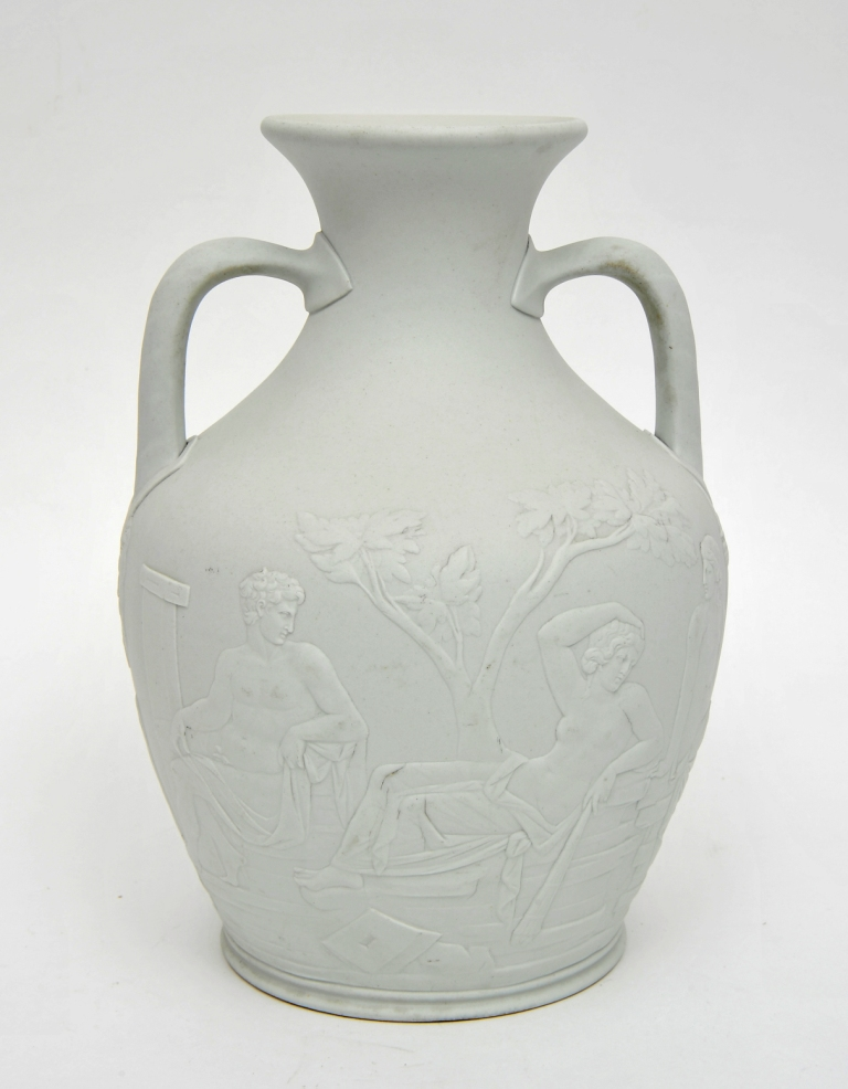 Victorian Wedgwood copy of the 'Portland vase', showing white sprigged decoration against a white body. Bowes Museum X.4191. The scene is believed to depict the marriage of the sea-gods Peleus and Thetis