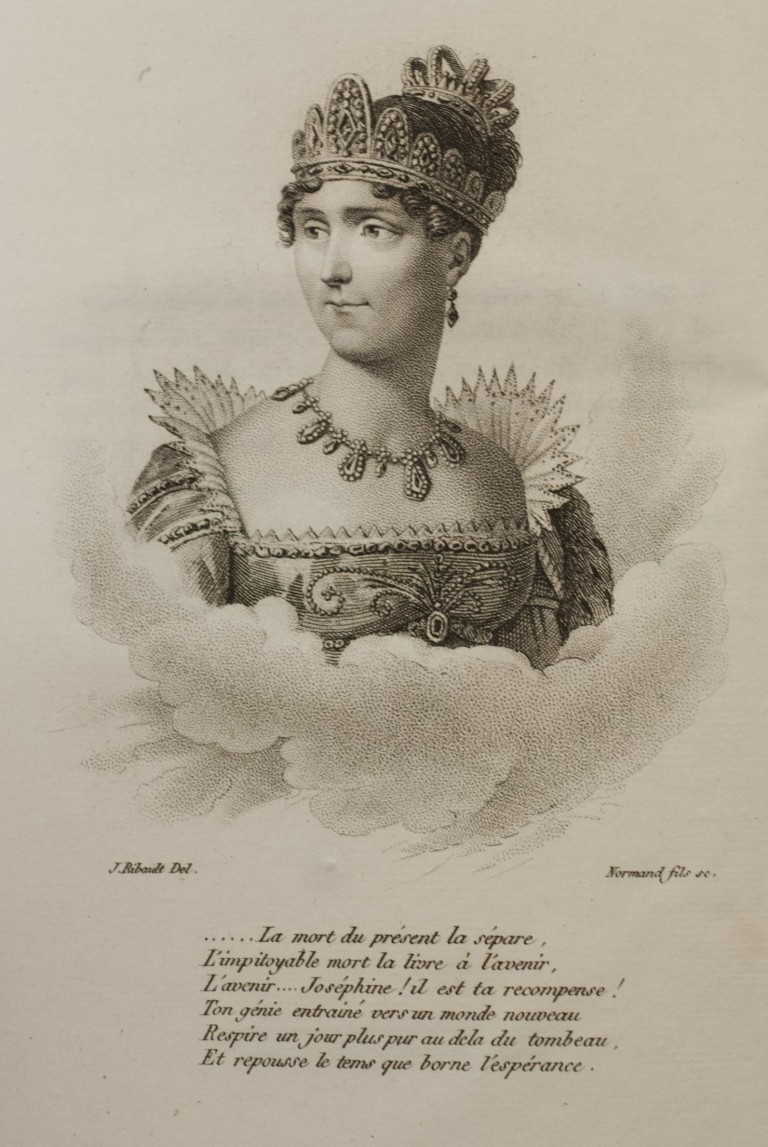 Empress Joséphine as she appears on the inside cover of Lenormand's 'Mémoires de l'Impératrice Joséphine'
