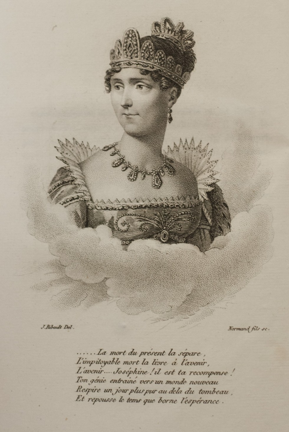 Empress Joséphine as she appears on the inside cover of Lenormand's 'Mémoires de l'Impératrice Joséphine'
