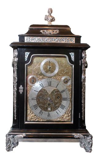John Newton Table Clock, c.1754, London, silver mounts by John Pollock. Presented by Mr. Roland Cook through The Art Fund, in memory of Mrs Cookson. 1980.14.1/CW.