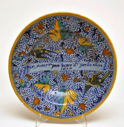 Padua Maiolica Plate, 1577, The Bowes Museum, X.2065