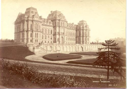 Photograph of the Bowes Museum taken in 1930 by Elijah Yeoman (1849-1930), in which the monkey puzzle appears prominently. 1997.46.243/ARC.