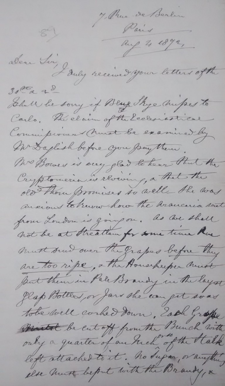Letter from John Bowes to Ralph Dent, written from Paris in August 1872, in which he asks on behalf of Joséphine about the progress of the tree, JB/2/1/40/89.