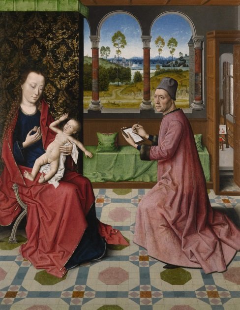 'St Luke Drawing the Virgin and Child' attributed to the workshop of Dieric Bouts the Elder