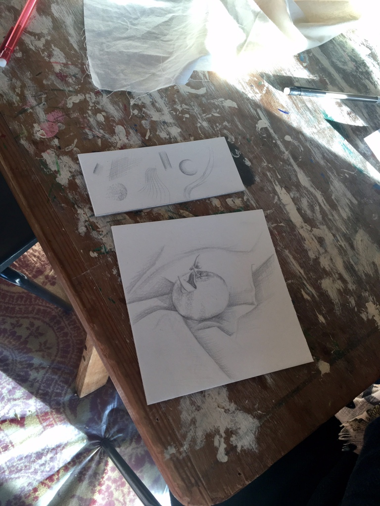 Brilliant final pieces from both the Silverpoint (left) and Watercolour workshops