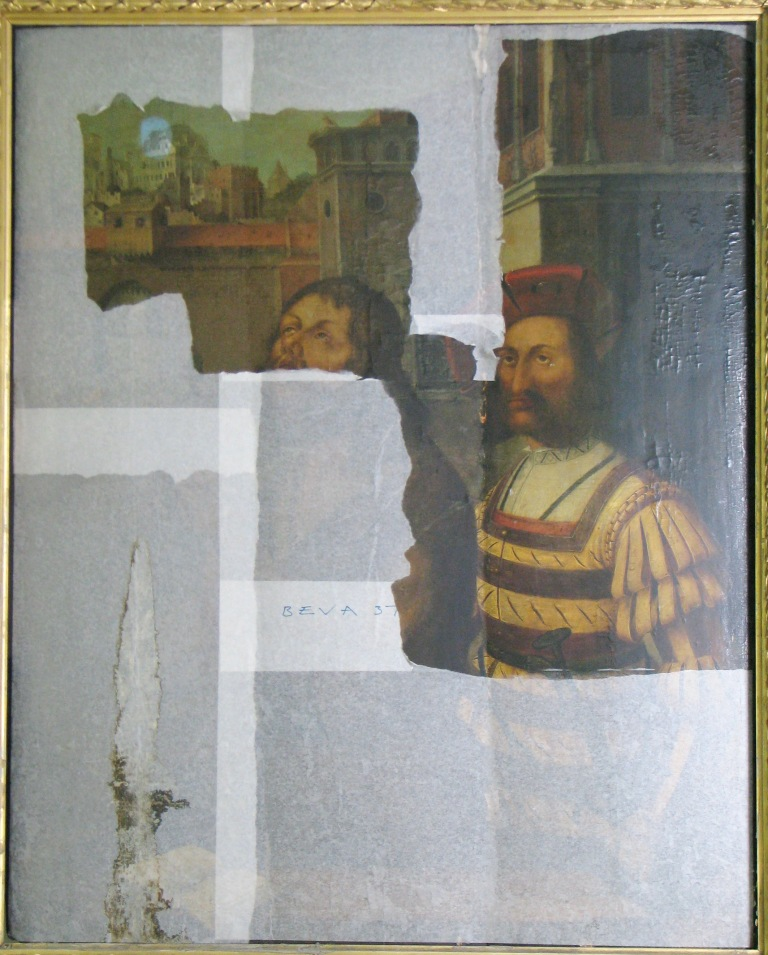 St John The Baptist Before Execution – the painting appearing from under the facing tissue