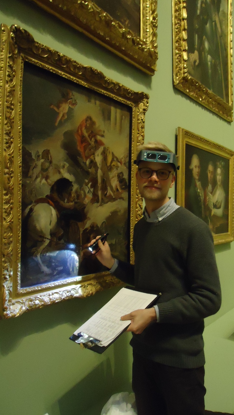 Doing condition assessments in the picture galleries (Photo: Kayleigh Fuller)