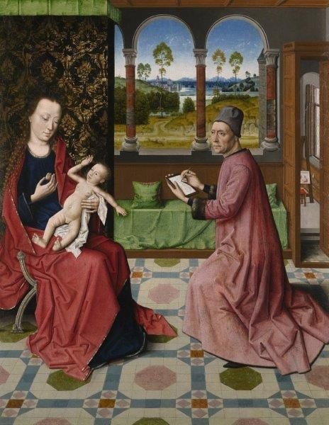 'St Luke Drawing the Virgin and Child' by the Workshop of Dirk Bouts (The Bowes Museum)