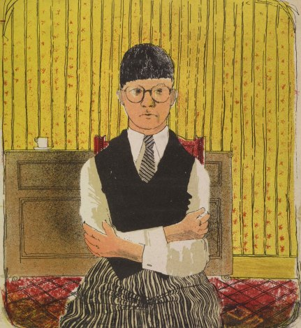 """David Hockney """"Self Portrait"""" 1954 Lithograph in five colours 11 12 x 10 14"""" Edition of 5 (approximately) © David Hockney"""
